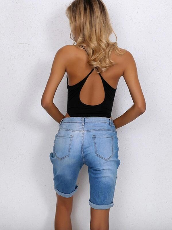 Women Joyfunear Criss-cross Back Deep V Neck Skinny Bodysuit