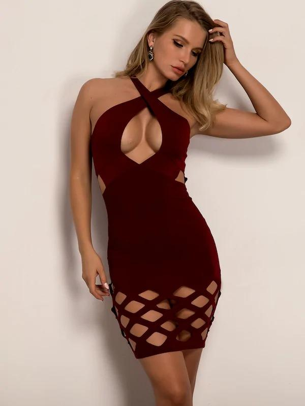 Women Joyfunear Cut-Out Halter Neck Bodycon Dress