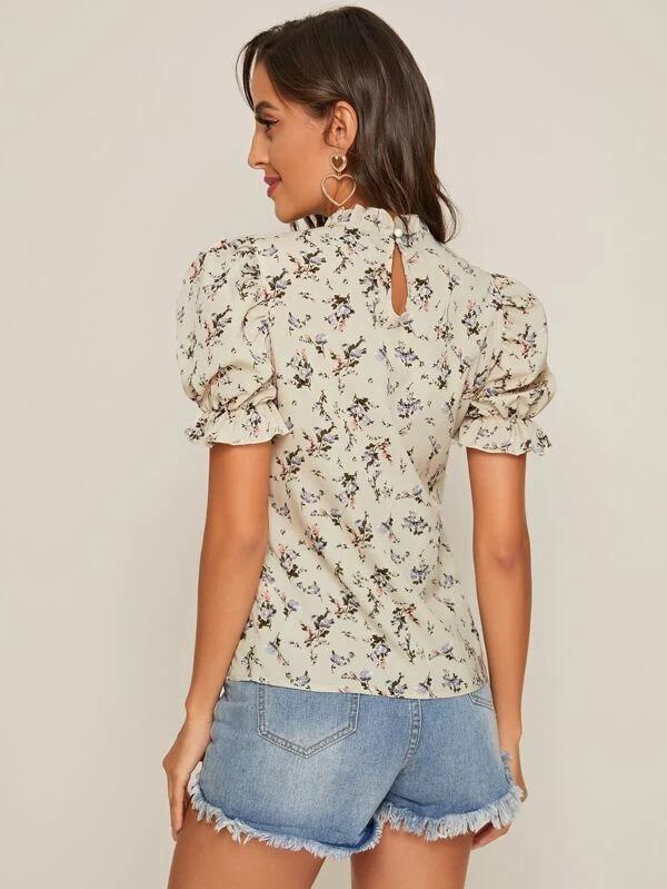 Women Keyhole Back Ruffle Cuff Ditsy Floral Top