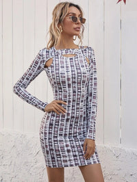 Women Keyhole Neck Cut Out Geo Print Dress