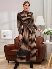 Women Keyhole Neck Shirred Waist Striped Jumpsuit