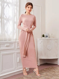 Women Knot Front Rib-knit Dress