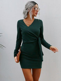 Women Knot Side Surplice Rib-knit Bodycon Dress