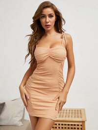 Women Knot Straps Ruched Bodycon Dress