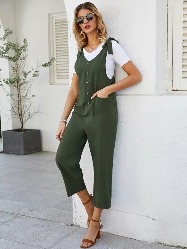 Women Knot Dual Pockets Button Front Overalls