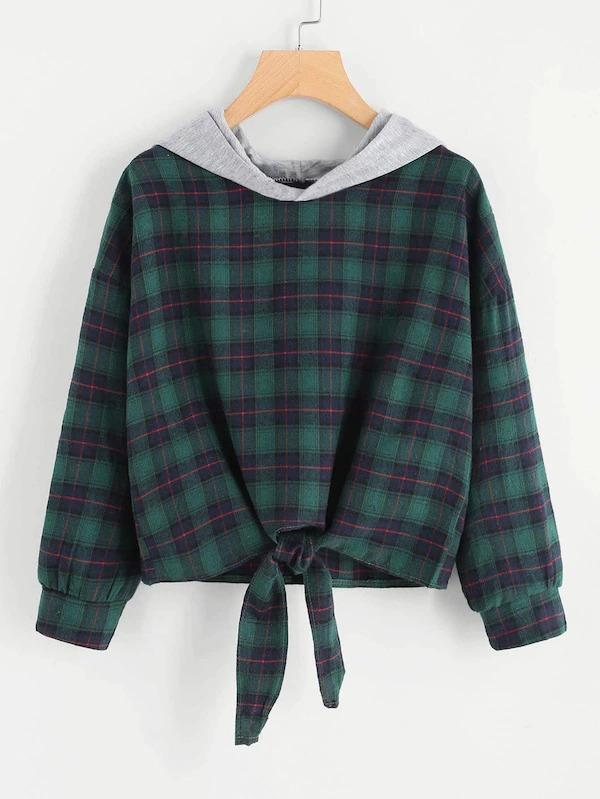 Women Knot Front Checked Hooded Sweatshirt