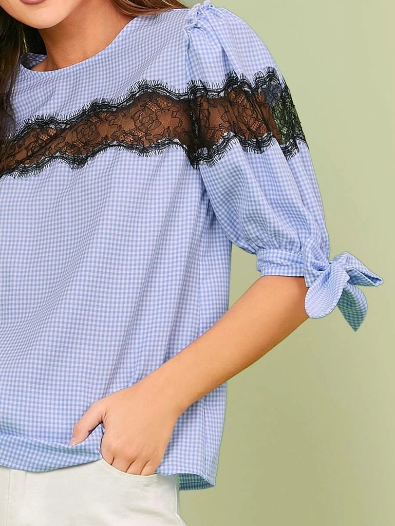 Women Knotted Cuff Lace Insert Gingham Top
