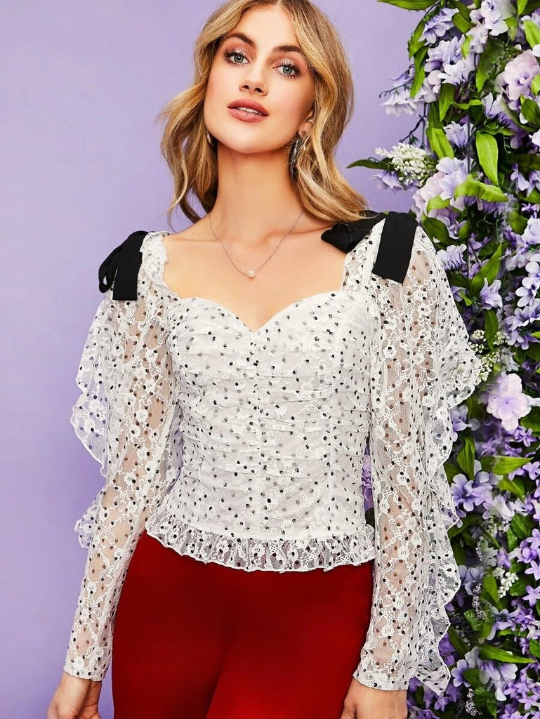 Women Knotted Shoulder Ruffle Trim Ruched Polka Dot Lace Top