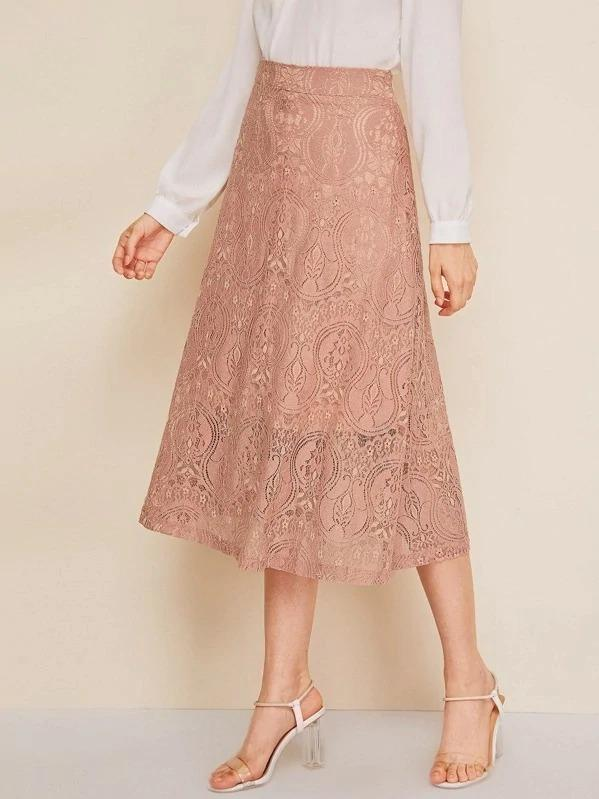 Women Lace Midi Skirt