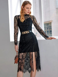 Women Lace Overlay Slit Hem Dress Without Belt