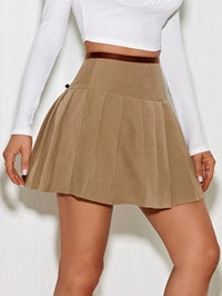 Women Lace Up Knot Pleated Skirt