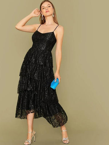 Women Lace Overlay Layered Ruffle Hem Slip Dress