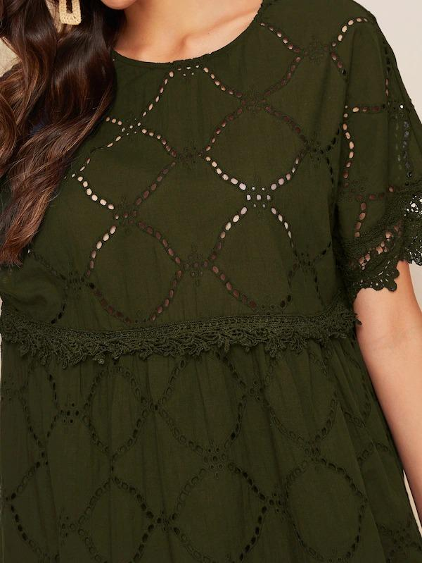 Women Lace Trim Eyelet Embroidered Smock Dress