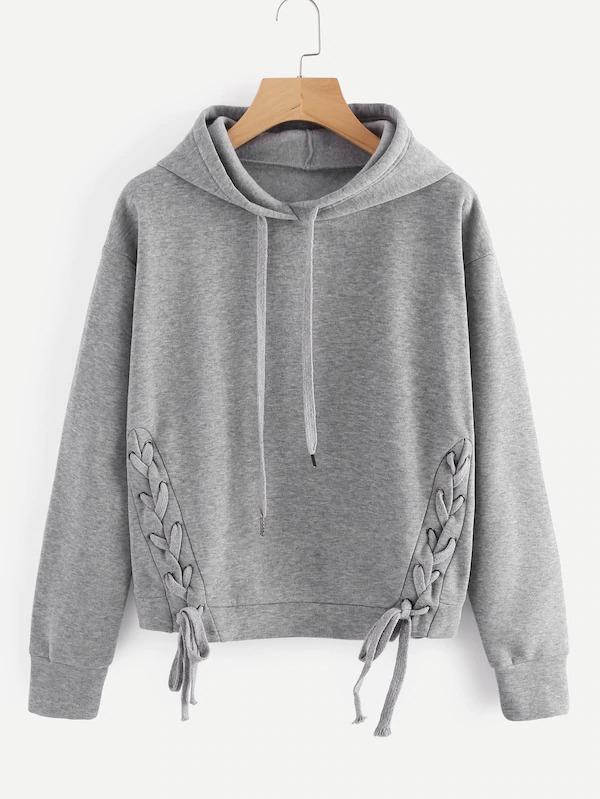 Women Lace Up Side Marled Hoodie