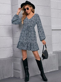 Women Lantern Sleeve Belted Ruffle Hem Ditsy Floral Dress