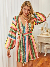 Women Lantern Sleeve Belted Striped Sequin Dress