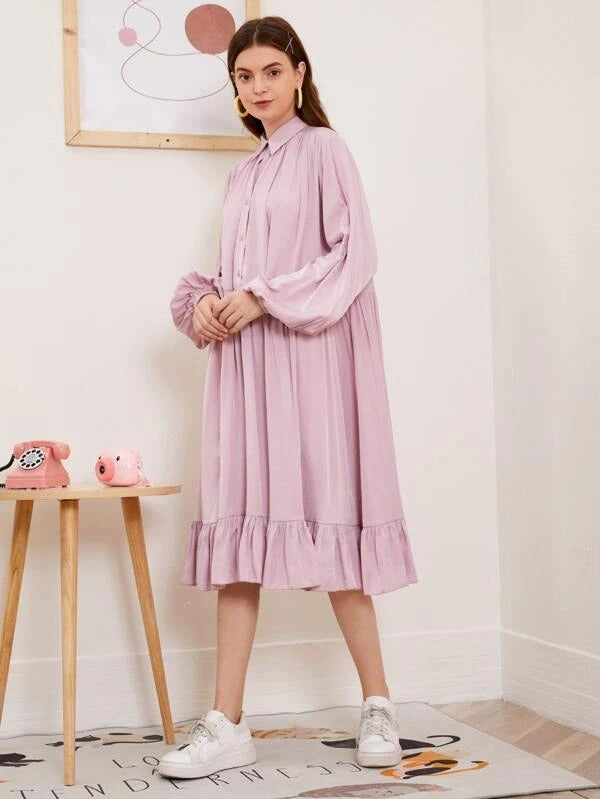 Women Lantern Sleeve Button Front Ruffle Hem Dress