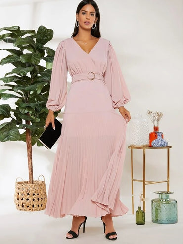 Women Lantern Sleeve O-ring Belted Pleated Dress