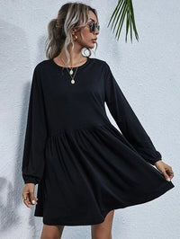 Women Lantern Sleeve Solid Smock Dress