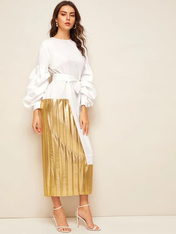 Women Lantern Sleeve Belted 2 In 1 Pleated Patchwork Dress