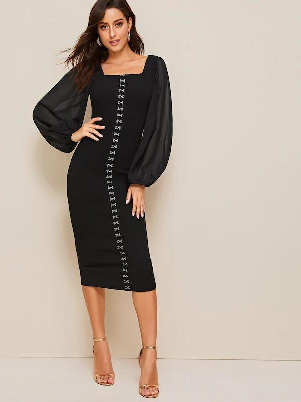 Women Lantern Sleeve Hook And Eye Pencil Dress