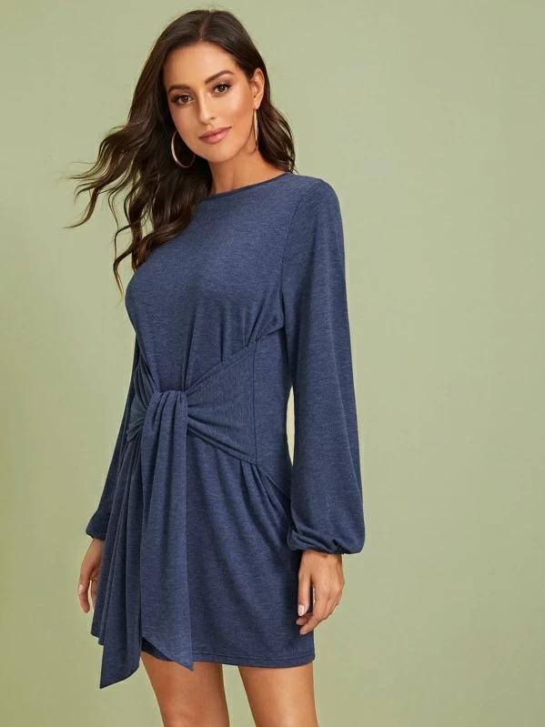Women Lantern Sleeve Tie Front Keyhole Back Dress