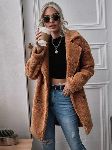Women Lapel Collar Double Breasted Teddy Coat
