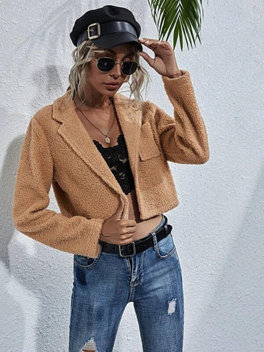 Women Lapel Neck Button Up Crop Teddy Jacket