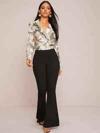 Women Lapel Collar Plants Print Combo Bodysuit