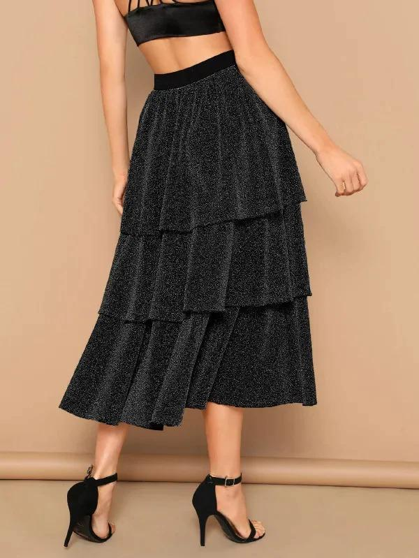 Women Layered Ruffle Glitter Skirt