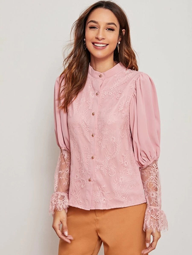 Women Leg-of-mutton Sleeve Contrast Lace Blouse