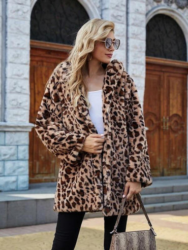 Women Leopard Hooded Faux Fur Coat