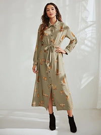 Women Leopard Print Button Up Belted Shirt Dress