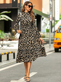 Women Leopard Print Ruffle Hem Belted Shirt Dress