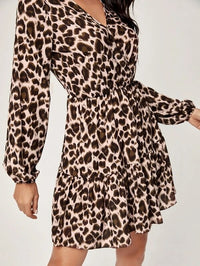 Women Leopard Print Surplice Front Ruffle Hem Dress