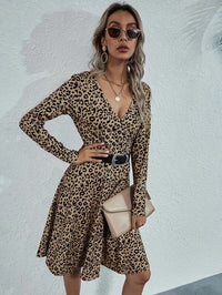 Women Leopard Print Wrap Dress Without Belted