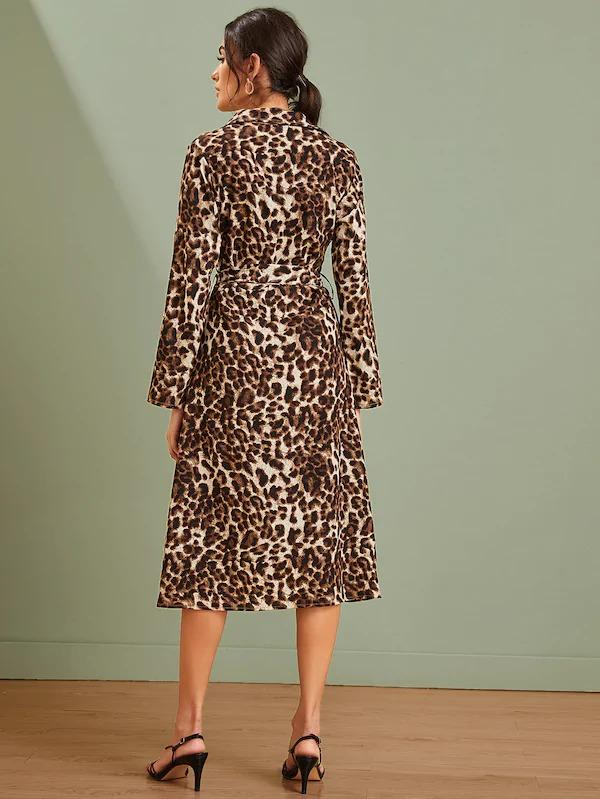 Women Leopard Button Through Belted Shirt Dress