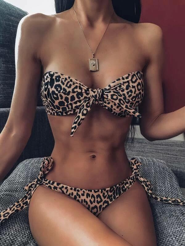 Women Leopard Knot Bandeau With Tie Side Bikini