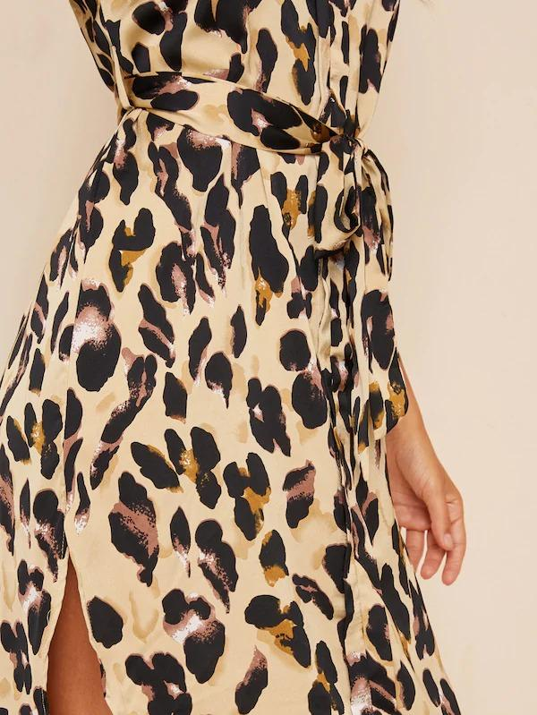 Women Leopard Print Curved Hem Belted Dress
