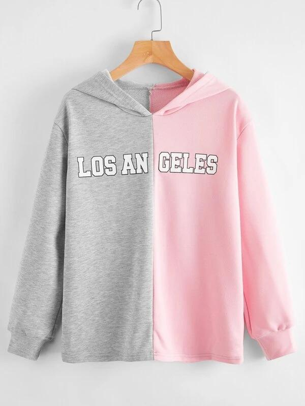 Women Letter Graphic Color Block Hoodie