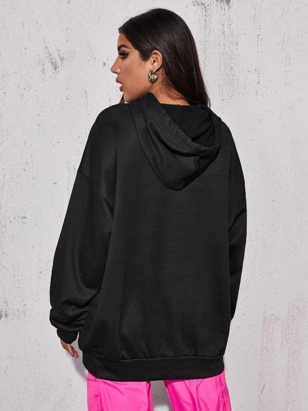 Women Letter Graphic Drop Shoulder Oversized Longline Hoodie