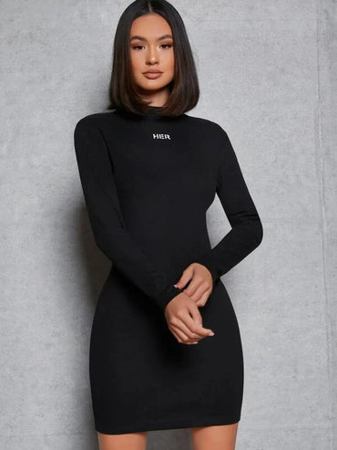 Women Letter Graphic Mock Neck Bodycon Dress
