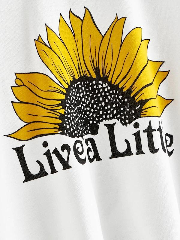 Women Letter And Sunflower Print Sweatshirt