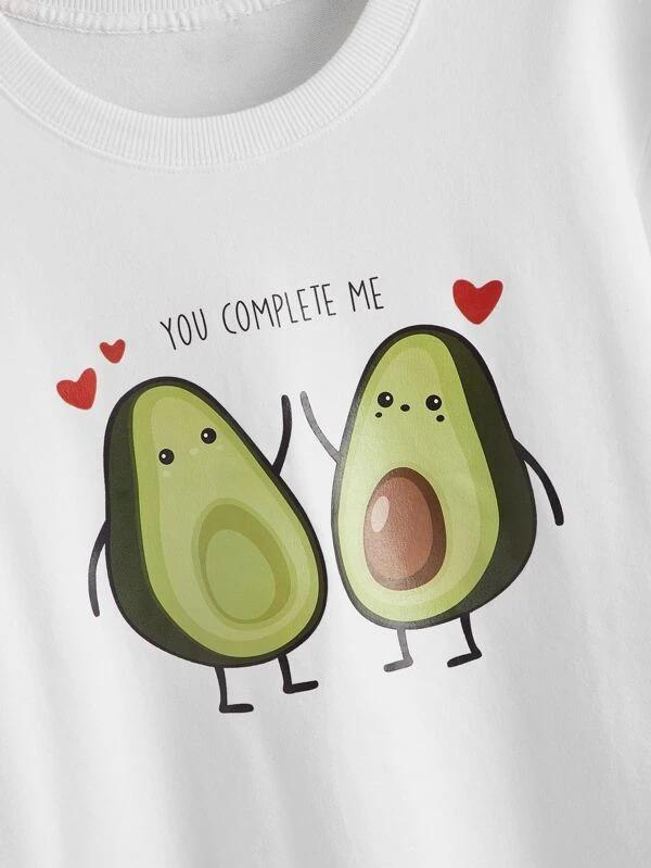 Women Letter & Avocado Print Sweatshirt