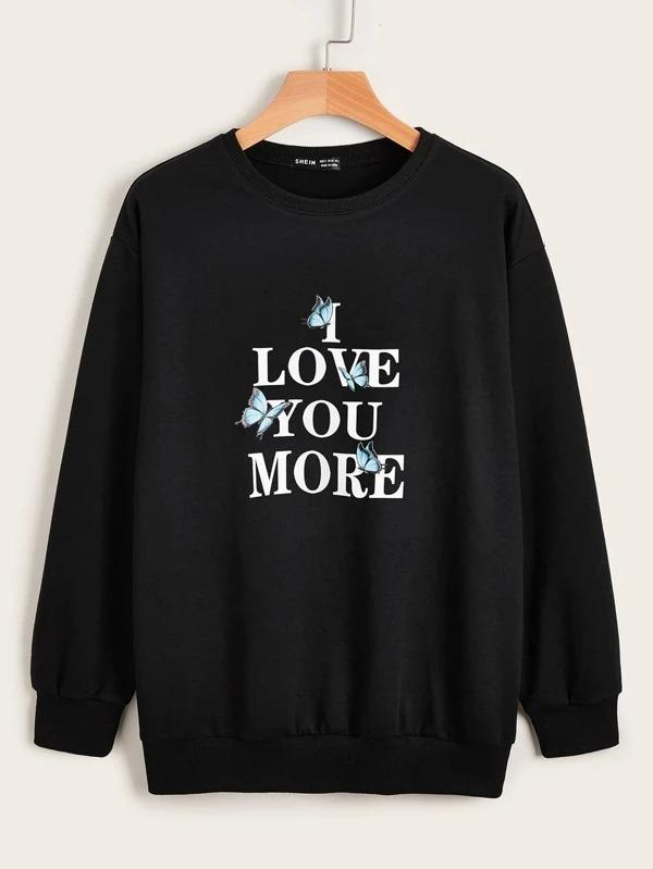 Women Letter & Butterfly Graphic Pullover