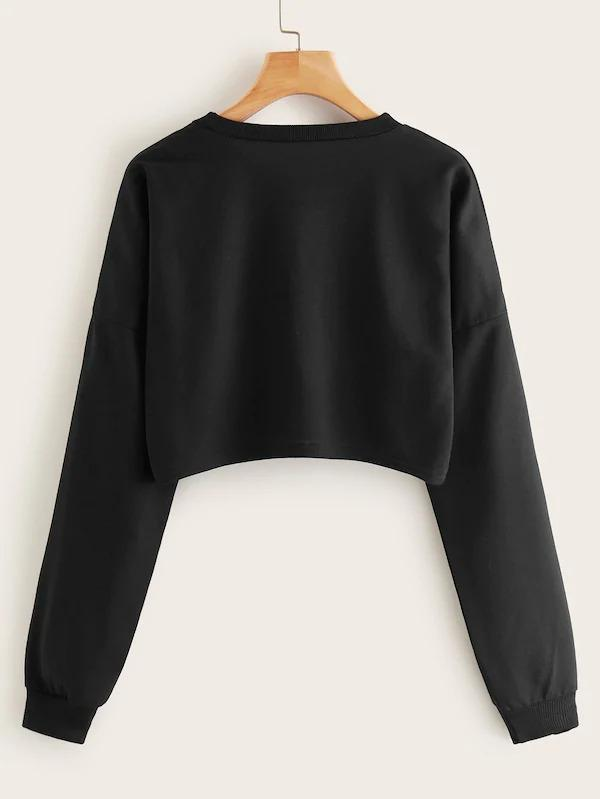 Women Letter Print Drop Shoulder Crop Sweatshirt
