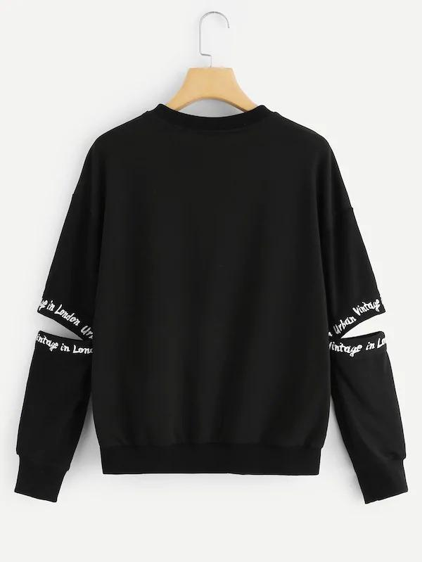 Women Letter Print Open Elbow Sweatshirt
