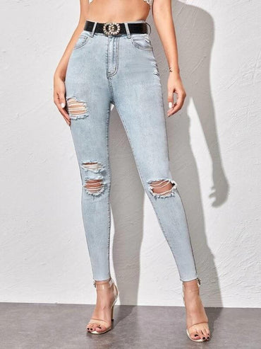 Women Light Wash Ripped Skinny Jeans Without Belt