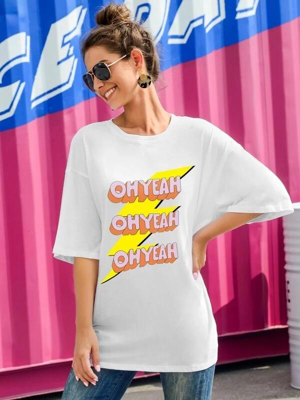 Women Lightning And Letter Graphic Drop Shoulder Tee