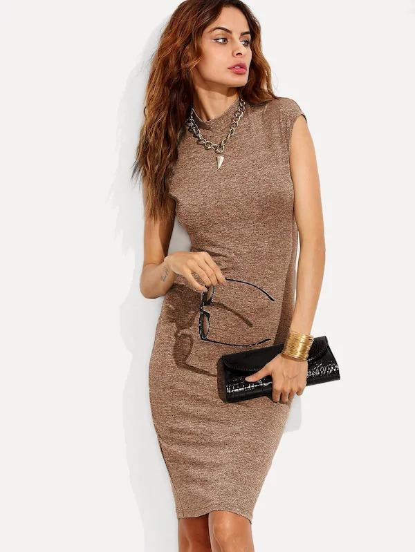 Women Marled Knit Fitted Dress